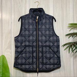 J Crew Dark Academia Plaid Down Quilted Puffer Vest size M Medium